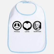 Peace Love Newton Bib