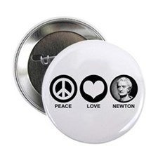 "Peace Love Newton 2.25"" Button"