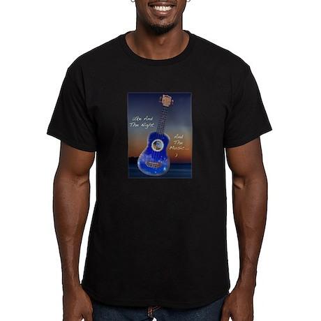 Men's Romantic Ukulele Fitted T-Shirt (dark)