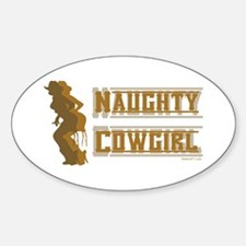 Naughty Cowgirl 2 Oval Decal