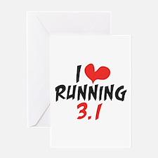 I heart running 3.1 Greeting Card