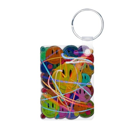 Smiley Face Buttons Aluminum Photo Keychain