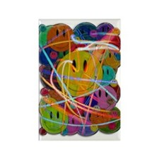Smiley Face Buttons Rectangle Magnet