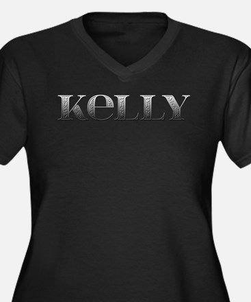 Kelly Carved Metal Women's Plus Size V-Neck Dark T