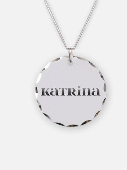 Katrina Carved Metal Necklace Circle Charm