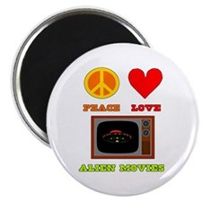 "Peace Love Alien Movies 2.25"" Magnet (10 pack)"