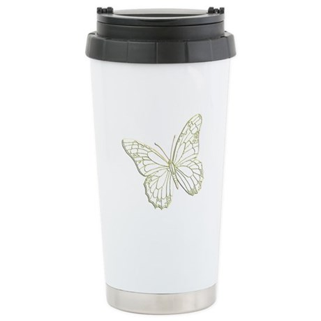 Embossed Butterfly Stainless Steel Travel Mug