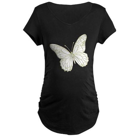 Embossed Butterfly Maternity Dark T-Shirt