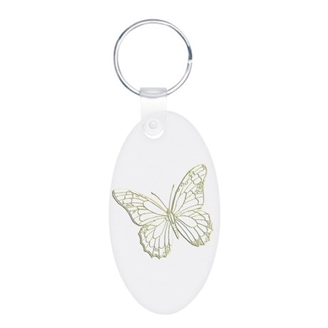 Embossed Butterfly Aluminum Oval Keychain