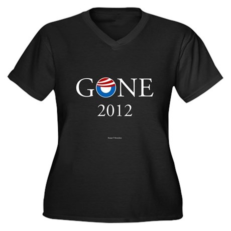Gone 2012 Women's Plus Size V-Neck Dark T-Shirt