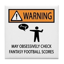 Checks Fantasy Football Scores Tile Coaster