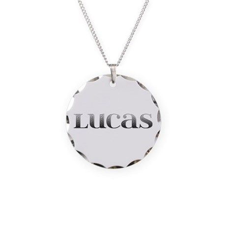 Lucas Carved Metal Necklace Circle Charm