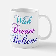 Wish, Dream, Believe Teal & P Mug