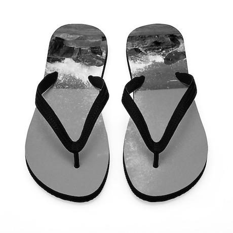 Black And White Ocean Flip Flops