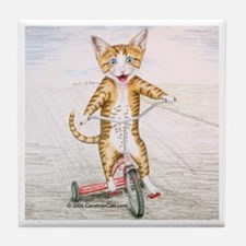 Kitten on Tricycle Tile Coaster