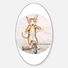 Kitten on Tricycle Oval Decal