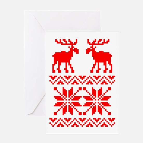 Moose Sweater Christmas Pattern Greeting Card