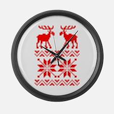 Moose Sweater Christmas Pattern Large Wall Clock