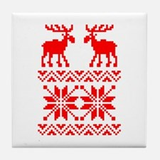 Moose Sweater Christmas Pattern Tile Coaster