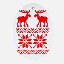 Moose Sweater Christmas Pattern Ornament (Oval)