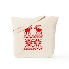Moose Sweater Christmas Pattern Tote Bag