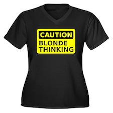 Blonde Thinking Women's Plus Size V-Neck Dark T-Sh