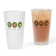 Peace Love Garden Drinking Glass
