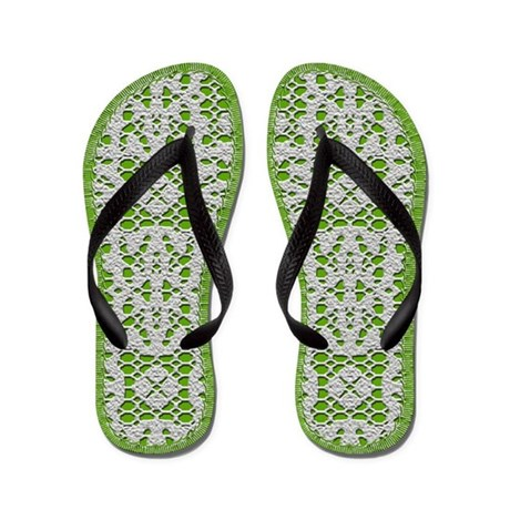 Green with White Crochet Lace Flip Flops