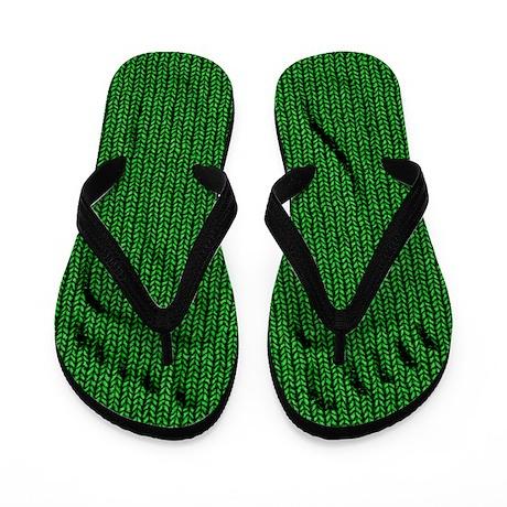Green Knit Footprint Flip Flops