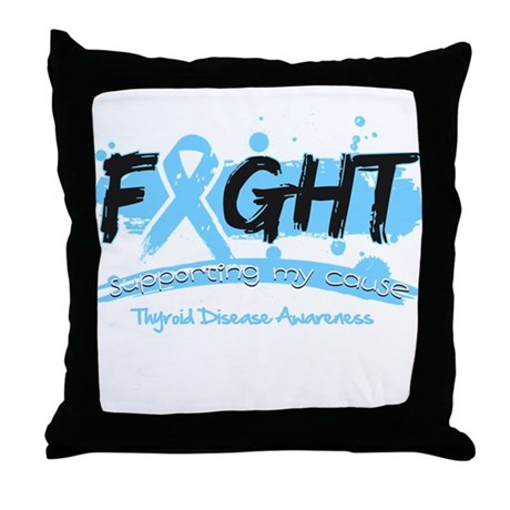 Fight Thyroid Disease Cause Throw Pillow
