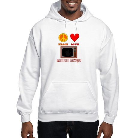 Peace Love Horror Movies Hooded Sweatshirt