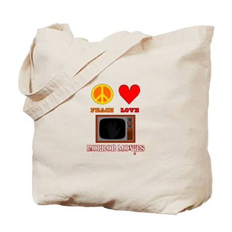 Peace Love Horror Movies Tote Bag
