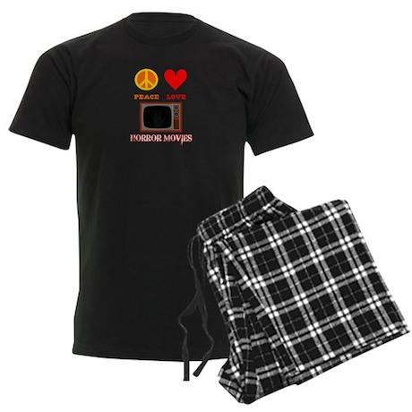 Peace Love Horror Movies Men's Dark Pajamas