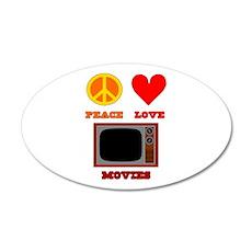 Peace Love Movies 22x14 Oval Wall Peel