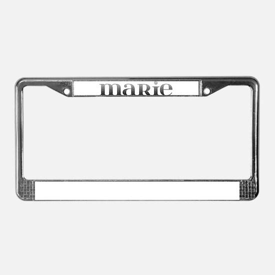 Marie Carved Metal License Plate Frame