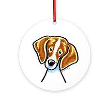 Red White Beagle Face Ornament (Round)