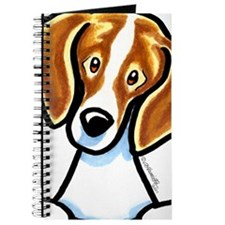 Red White Beagle Face Journal