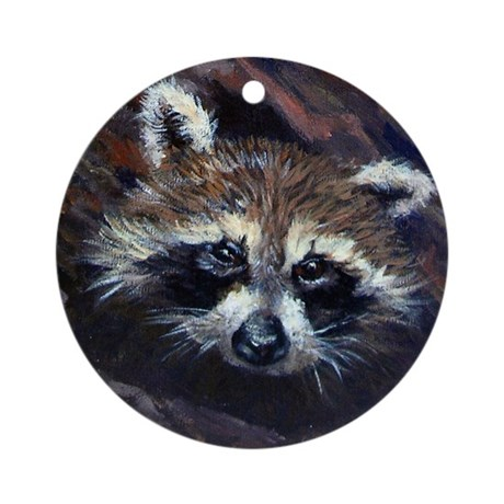 Peek a Boo Raccoon Ornament (Round)