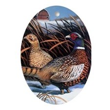 Winter Chill Pheasants Oval Ornament