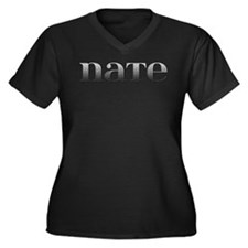 Nate Carved Metal Women's Plus Size V-Neck Dark T-