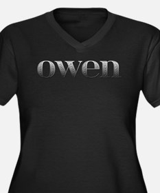 Owen Carved Metal Women's Plus Size V-Neck Dark T-