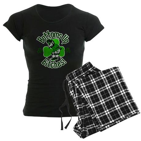 Bottoms Up Bitches Leprechaun Women's Dark Pajamas