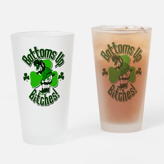 Bottoms Up Bitches Leprechaun Drinking Glass
