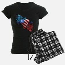 July 4th Heart Scroll Pajamas