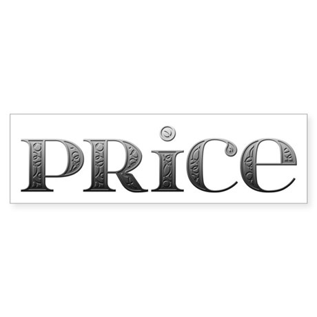 Price Carved Metal Bumper Sticker