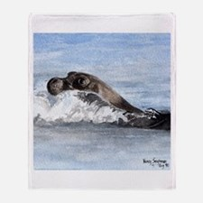 Swimming Seal Throw Blanket