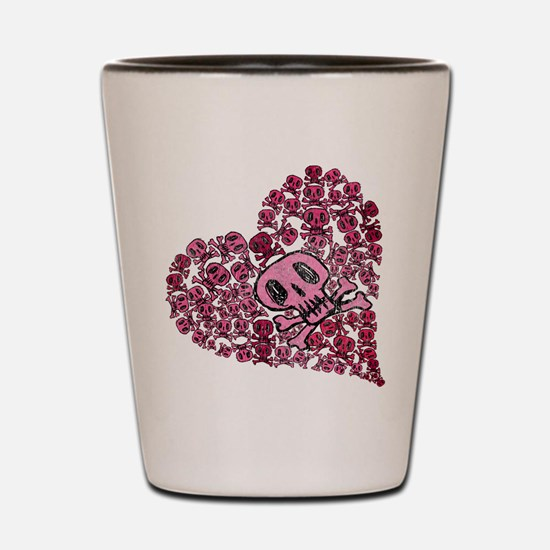 SKULL HEART VINTAGE Shot Glass