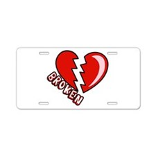 Broken Hearted Aluminum License Plate