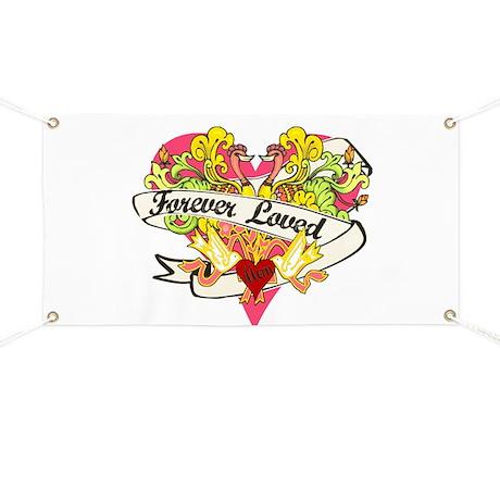 Forever Loved Pink Heart Banner
