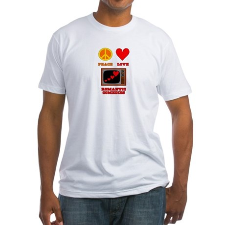 Peace Love Romantic Comedy Fitted T-Shirt